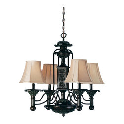 """Meyda Tiffany - Meyda 30""""W Eaton 4-Light Chandelier - Cut cornered Wheat fabric shades top this Kensington Bronze hand finished four light chandelier. The gracefully curving arms accent the fluted carved arms and body."""