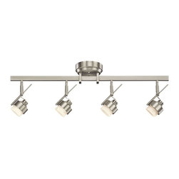 KICHLER - KICHLER LED Contemporary Directional Wall / Ceiling Light X-IN62301 - A hint of modern and industrial styling give this Kichler Lighting directional rail light a unique look. LED lights are housed within satin etched glass shades which compliment the clean tones of the Brushed Nickel finish. May be wall or ceiling mounted.