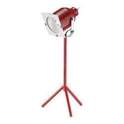 Stage Left Desk Lamp - Make your work star-quality under this bright stage-style light. In stunning chrome and bold red, it lights up the room even when the bulb is switched off. Its Old Hollywood style makes it a must-have for film aficionados and true starlets.