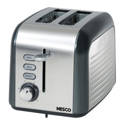 "NESCO - NESCO T1000-13 2-Slice Toaster (Gray/Chrome) - 100W;1.5"" slots with self-adjusting guides;Cancel, bagel & defrost functions with indicator lights;Soft touch shade control dial & lift-&-lock lever;Slide-out crumb tray & cord storage;Stainless steel housing;Gray accents"
