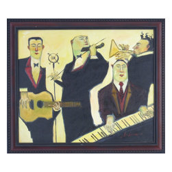 "Consigned Music Band Painting by Clifford Bailey - Giclee painting on canvas, titled ""A Simple Song"", 2000, series ""Troubadours""."