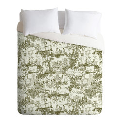 DENY Designs - Rachelle Roberts Farm Land Toile In Vintage Green Duvet Cover - Turn your basic, boring down comforter into the super stylish focal point of your bedroom. Our Luxe Duvet is made from a heavy-weight luxurious woven polyester with a 50% cotton/50% polyester cream bottom. It also includes a hidden zipper with interior corner ties to secure your comforter. it's comfy, fade-resistant, and custom printed for each and every customer.