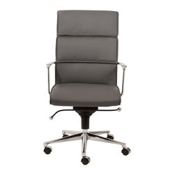 Euro Style - Leif High Back Office Chair - Gray Leatherette/Chrome - With brightly finished bases and armrests there is a distinctively professional look to these chairs. The one piece seat and the paneled seat back offer all day comfort which is great for that one day a week you can leave a little early for golf, or shopping or watching that soccer match at school. Goal!!!