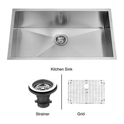 Vigo - Vigo 32-inch Undermount Stainless Steel Kitchen Sink, Grid and Strainer - Enhance your kitchen workspace with a Vigo contemporary stainless steel kitchen sink, matching grid and strainer.