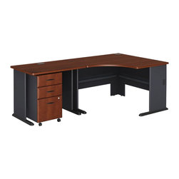 BBF - Bush Series A 3-Piece Wood Corner Computer Desk in Hansen Cherry - Bush - Computer Desks - WC90466APKG1