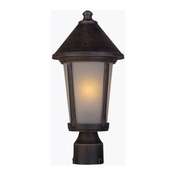 Artcraft Lighting - Artcraft Lighting AC8213RU Malibu Transitional Outdoor Post Lantern Light - The Malibu Exterior Lighting Series, is transitional in design. The frame, backplate and screws are made out of high quality metals to eliminate the fear of corrosion and is backed by a 25 year warranty. Shown in Bronze and also available in black