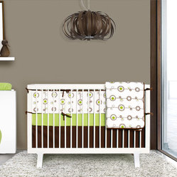 Green and Brown Bloom 4-piece Crib Set