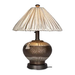 Venetian Bronze Outdoor Table Lamp - Light to your outdoor living area with the casual yet elegant styling of our Venetian outdoor table lamp. Completely waterproof these lamps feature all resin construction, a heavy weighted base with carbon black accents and an Unbreakable poly carbonate waterproof light bulb enclosure allows the use of a standard 100 watt light bulb. Venetian outdoor lamps have a two level dimming switch and 16 ft weatherproof cord & plug. In a class by themselves, this unique line of weatherproof lanterns and lamps will beautify any outdoor area. An unsurpassed level of quality is engineered into every product.