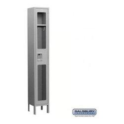 Salsbury Industries - See-Through Metal Locker - Single Tier - 1 Wide - 6 Feet High - 12 Inches Deep - See-Through Metal Locker - Single Tier - 1 Wide - 6 Feet High - 12 Inches Deep - Gray - Unassembled