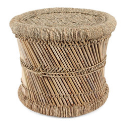 Pfeifer Studio - Woven Indian Mooda Stool, 17.5 Dia x 12 H Inches - The mooda is a traditional low stool handmade in India from the Sarkanda plant. The frame is created with the stalks of the plant which are aligned in a criss-cross construction and tied along the spine. Jeverdi, a twisted rope used to secure stools and weave the seat, is created from the plant's leafy covering, known as moon grass. They are extremely lightweight and surprisingly durable. Individually handmade, please allow for variation.