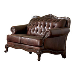 Coaster - Victoria Traditional Love Seat - A simply stunning example of Victorian era styling. You'll love the supple leather upholstery in warmest brown tones that are complemented by the classic carvings across the crest and waved front rail. Button tufting adds depth that accentuates and creates comfort. * Decorative wood molding wraps. Curves on top of back and bottom of frame. Wooden cabriole legs offer support. Flared rolled arms and button tufted back. Two plush seat cushions. Exposed cabriole wooden legs with elegant carved detail. 1.8 in. cushion with dacron wrap. Over 1000 individually placed nail heads. Top grain or split. Made from leather. Brown color. 64 in. L x 39 in. W x 43 in. H. Warranty