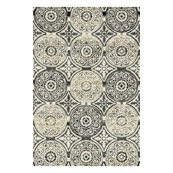 """Loloi Rugs - Loloi Rugs Avanti Collection - Black/Gold, 5'-0"""" x 7'-6"""" - Power loomed in China, Avanti presents a collection of vintage-inspired rugs with an incredibly soft microfiber surface. The intentionally distressed patterns create a weathered look that simultaneously implies heritage and modernity. Made of 100% polyester, each rug will retain its sharp and vibrant colors for years to come."""