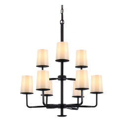 Murray Feiss - Murray Feiss Huntley Transitional Chandelier X-BRO6+3/5292F - Inspired by the rich, rustic design of ranch ironwork, the Huntley Collection is characterized as mountain luxe. The arms are cast to achieve superior quality and detail. The mouth-blown, powder ivory frit glass creates a delicate feathered detail, like a glowing candle. Ships with two finial options - a simple disk or a drip cup detail which complements the bobeche.