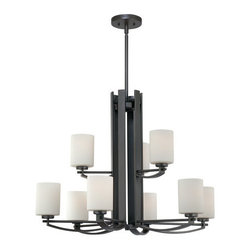 Quoizel - Quoizel TY5009 9 Light 900 Watt 2 Tier Up Lighting Chandelier Taylor Co - Contemporary / Modern 9 Light 900 Watt 2 Tier Up Lighting Chandelier from the Taylor CollectionThe contemporary flair of the Taylor collection is sure to brighten your living space in a modern and elegant fashion.Features: