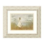 "Amanti Art - ""There's Always Tomorrow"" Framed Print by Betsy Cameron - Capture the innocence of childhood with this beautiful print by artist Betsy Cameron. A child stares wistfully at the ocean while clutching her pail, a gentle sea breeze puffing out her simple cotton dress. With its whitewashed frame, this ethereal image makes a lovely addition to your beach house, bathroom or Shabby Chic bedroom."