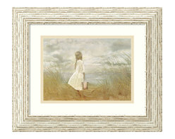 Amanti Art - There's Always Tomorrow Framed Print by Betsy Cameron - Capture the innocence of childhood with this beautiful print by artist Betsy Cameron. A child stares wistfully at the ocean while clutching her pail, a gentle sea breeze puffing out her simple cotton dress. With its whitewashed frame, this ethereal image makes a lovely addition to your beach house, bathroom or Shabby Chic bedroom.