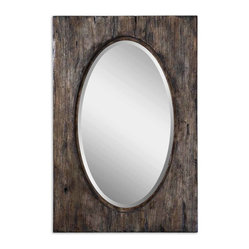 Uttermost - Hichcock Distressed Oval Mirror - This mirror can double as a work of art. The heavily distressed wooden frame gives texture and interest to the oval mirror. Hang it either horizontally or vertically to mimic a dining room table, or in the entryway above a mirrored console table for a surprise accent.