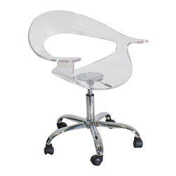 "Lumisource - Rumor Office Chair, Clear - 21"" L x 27"" W x 28 - 33"" H"