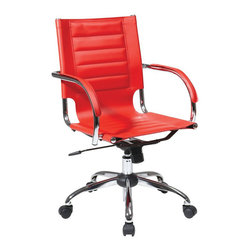 Avenue Six - Avenue Six Trinidad Office Chair With Fixed Padded Arms and Chrome in Red - Avenue Six - Office Chairs - TND941ARD - Featuring contour seat and back with built-in lumbar support Trinidad Office Chair is here to brighten up your day. With its locking tilt control adjustable tilt tension and one touch pneumatic seat height adjustment this chair offers unique comfort and style. Heavy duty chrome base and dual wheel carpet casters for easy mobility.