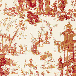 Schumacher - Chinois Fabric, Cream and Red - 2 Yard Minimum Order