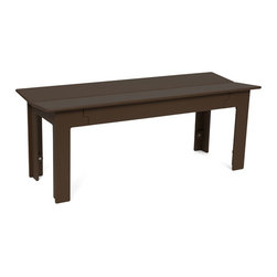 Loll Designs - Fresh Air Bench 44, Chocolate Brown - Fresh air is as important as healthy food and good friends and when all three coalesce there is something special that occurs. We named our Fresh Air Collection after just that. The clean lines and unique joinery make this a perfect table and bench for modern outdoor spaces. The bench has angled seat slats for a comfortable sit that won't allow water to pool on top. Made with half inch thick recycled plastic, both the table and bench are easy to move around and heavy enough to stay put in a gusty wind. The Fresh Air table and bench are sized perfectly for four even when two is really all you need.