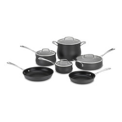 Cuisinart - Cuisinart Contour Hard Anodized 10-piece Cookware Set - This attractive Contour cooking set from Cuisinart is hard anodized and features a non-stick interior for each piece. The essential 10-piece kitchen collection arrives with two sauce pans, two skillets, a saute pan and a stockpot.