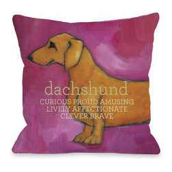 None - Dachshund Pink Decorative Throw Pillow - Add a great conversation piece with bright and fun throw pillows that will surely liven up any space!