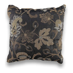 Gold Leaf Silver Metallic Damask Print Throw Pillow 17 In. - This damask print pillow adds an elegant accent to chairs, sofas, and beds in your home. It features a gunmetal gray background highlighted with silver and gold woven accents for a shimmering, yet sophisticated, addition to your home. It measures 17 inches by 17 inches, and is made of a polyester/cotton blend. The soft stuffing is 100% polyester, and care instructions are to spot clean, only. Made in the U.S.A.