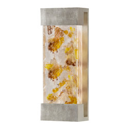 Fine Art Lamps - Crystal Bakehouse Carnelian & Citrine Crystal Sconce, 810950-31ST - With this sconce, you can have the shimmer of carnelian and citrine crystal inside or out. The hand-crafted, polished block of natural minerals sits snugly in a metal frame, emitting a warm glow.
