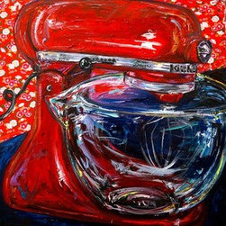 Kitchenaid (Original) by Amanda Beckham - the perfect piece for any kitchen! heavily textured acrylic paint and fine art paper - giving the painting a vintage kitchen wallpaper look.