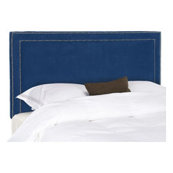 Safavieh - Cory Full Headboard - Navy - Sleep in style with the elegant Cory Headboard in full size. Upholstered in lush navy poly suede, this transitional design is punctuated with a mitered double row of nickel nailhead trim.