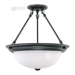 """Satco - Satco 15"""" Energy Efficient Traditional Semi Flush Mount Ceiling Light X-1433/06 - Decorate with something stylish with this 15"""" energy efficient traditional semi-flush mount ceiling light by Nuvo Lighting. It features a beautiful, bowl-shaped, frosted white glass shade and a simple frame in a mahogany bronze finish. It's sure to diffuse light softly and pleasantly in any room."""