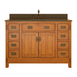 """Sagehill Designs - Sagehill Designs AC4821D Rustic Oak American Craftsman 48"""" Oak Wood - American Craftsman 48"""" Vanity Cabinet Based on the design elements of the American Arts and Crafts Movement, Sagehill Designs introduces the American Craftsman Vanity. Ample scale and proportions combined with simple lines make this design a new classic. Featuring exposed tenons and vertical design elements, the design exemplifies the """"less-is-more"""" aesthetic. Add the final touch of matching period hardware in an antique brass finish and the result is dramatic yet relaxed. This collection appeals to those who desire a bath environment that is casual and relaxed.   Product Features:  Overall Dimensions: 48""""W x 21""""D x 34""""H Constructed of Oak hardwoods Oak wood veneers (real wood) Classic """"Mortise and Tenon"""" arts and crafts design. 2 door cabinet provides ample storage 6 side drawers for convenience storage Well built drawers use dove-tail jointing techniques (see additional images) Smooth-glide ball-bearing drawer glides Rich oak double panel door with exposed dowels. Finished cabinet interior Multi-step hand rubbed finish brings out the depth and beauty of the wood. Period style matching antiqued cabinet hardware. Adjustable floor levelers Crated and shipped assembled Available in three sizes: 30"""" (AC3021), 36"""" (AC3621D), and 48"""" (this model)    Special Note:  The 6 additional images (found near the top of this page, to the right-and-down of the main photo) contain photo s of the 36"""" version of this model (AC3621D), but still provide referrence for design characteristics and finish.  The main photo located above is the accurate depiction and what to expect when this 48"""" model is ordered."""