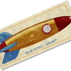 Rocket Wall Art Comet Tin Toy Rocket Box Art Print 7.78 in x 18 in