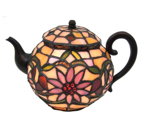 Zeckos - Stained Glass Teapot Accent Lamp Tiffany Style Tea Pot Kettle - This beautiful stained glass tea pot table lamp adds the perfect accent to your desk or nightstand. Measuring 6 1/2 inches tall, 10 inches wide and 7 inches deep, the lamp uses hundreds of small pieces of stained glass and mercury glass to complete a beautiful flower pattern. It comes with a five foot cord with a toggle switch. The lamp is brand new, never used or displayed. It uses one nightlight style bulb (not included). It makes a great gift. We have a very limited supply of these, so don't delay. Get yours now