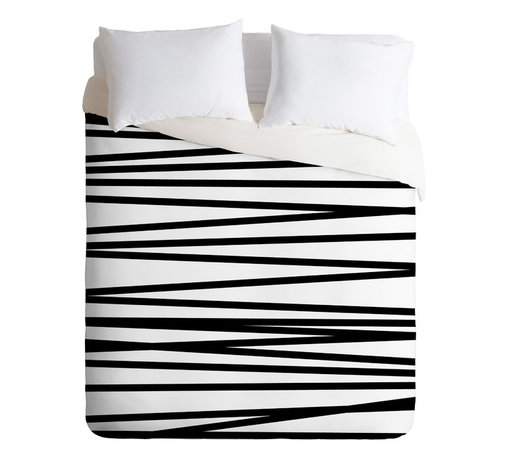 DENY Designs - Khristian A Howell Crew Stripe BW Duvet Cover - Turn your basic, boring down comforter into the super stylish focal point of your bedroom. Our Luxe Duvet is made from a heavy-weight luxurious woven polyester with a 50% cotton/50% polyester cream bottom. It also includes a hidden zipper with interior corner ties to secure your comforter. it's comfy, fade-resistant, and custom printed for each and every customer.