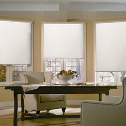 Roller Shade | Traditional Dining Room | Yellow & White| Large Captain's Chair - Simple window shade design