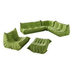 """LexMod - Waverunner Sofa Set in Green - Waverunner Sofa Set in Green - Provide natural comfort at every gathering with a balanced set of functional symmetry. Observe as Waverunner interplays ergonomics with dense foam cushioning to precisely reflect full relaxation. Wander through the pathways of elucidation with a multi-layered environment of intricate folds and holistic positioning. Set Includes: One - Waverunner Armchair One - Waverunner Corner Couch One - Waverunner Loveseat One - Waverunner Ottoman One - Waverunner Sofa Perfect for living room or lounge, Covered in easy-care microfiber, Ground level Density foam, Sold as a set or individually Chair Dimensions: 40""""L x 33""""W x 27""""H Loveseat Dimensions: 40""""L x 49""""W x 27""""H Sofa Dimensions: 40""""L x 68""""W x 27""""H Corner Dimensions: 40""""L x 36""""W x 27""""H Ottoman Dimensions: 26""""L x 31""""W x 13""""H Overall Product Dimensions: 67""""L x 116""""W x 26""""H - Mid Century Modern Furniture."""