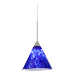 Besa Lighting - Besa Lighting 1XT-512186-LED Kani 1 Light LED Cord-Hung Mini Pendant - The Kani pendant features a compact cone-shaped glass, that will gracefully blend into almost any decorating theme. Our Blue Cloud glass is full of floating, splashes of blue tones over white that almost feels like a watercolor painting. This combination of color is crisp and timeless. This decor is created by rolling molten glass in small bits of blue hues called frit. The result is a multi-layered blown glass, where frit color is nestled between an opal inner layer and a clear glossy outer layer. The handcrafted touch of a skilled artisan, utilizing century-old techniques passed down from generation to generation, creates variations in color and design that are to be appreciated. The 12V cord pendant fixture is equipped with a 10' braided coaxial cord with teflon jacket and a low profile flat monopoint canopy.Features: