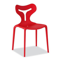 Calligaris - Area 51 Stackable Outdoor Chair in Red (Set o - Pictured in Red. Stackable chair, suitable for outdoor use. Attractive sinuous backrest design. Monoblock made entirely from polypropylene, using the Airmoulding process. Slightly textured surface. This technique produces a chair that is extremely robust yet lightweight. Assembly required. Seat height: 17.75 in.. 20 in. W x 19.75 in. D x 31.5 in. H