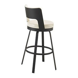 """Amisco - Brock 26"""" Swivel Counter Stool - With a sleek and contemporary design, this 26"""" counter stool will suit any bar or kitchen and can easily fit below your counter. Amisco furniture can be manufactured in a vast array of metal finishes and fabric options for your meticulous tastes and preferences for no additional charge. Its customizable options means it will compliment any home decor. All Amisco products have full length welds on the entire main structure that are warranted for 10 years. Features: -Available in a wide variety of finishes and fabric options. -Choose from standard swivel and memory swivel seat options . -Nontoxic, environmentally safe baked powder coating for a scratch resistant finish . -Some assembly required. -Clean wrinkle free bends for a very aesthetic finish. -10 year limited warranty. -Dimensions: 37.625"""" Height x 18"""" Width x 20"""" Depth."""