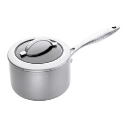 Scanpan CTX 2 Qt. Covered Saucepan - The Scanpan CTX 2 quart covered saucepan is the perfect size for heating soups and cooking small portions of rice or pasta. The steel saucepan from the CTX series features a ceramic coating that is ideal for all dishes containing cheese or milk  as it ensures easy cleaning. The saucepan is ovenproof up to 500° F (260°C). Featuring a strong design and durable materials  Scanpan CTX is an exclusive series of pots and pans for the everyday demands of food enthusiasts.  With CTX  you get uncompromising cookware in the best Danish quality. The ceramic titanium surface is extraordinarily robust and safe for use with metal and steel kitchen tools.  The durable non-stick coating ensuring perfect cooking and the brushed steel exterior makes CTX look great on every stove.  PFOA & PFOS free.  Suitable for use on all cooktops including induction.  Product Features                          Made from 100% recycled squeeze-cast aluminum            Patented ceramic titanium with PFOA-free non-stick surface allows the use of metal utensils            Oven safe up to 260°C/500°F            18/10 stainless steel cast handles            Guaranteed not to warp            Lifetime Warranty            Eco friendly ceramic titanium surface will never peel even with the use of metal utensils            Heavy duty base manufactured from squeeze cast aluminum            Designed and manufactured in Denmark