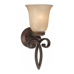Triarch International - Corsica Wall Sconce in English Bronze Finish - Corsica Single Light Wall Sconce in an English Bronze finish with Cognac Antiqued Scavo Glass. 1-100 Watt Medium based bulb not included. UL Approved. 8 in. L x 6.5 in. W x 16 in. H (4 lbs)