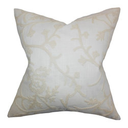 "The Pillow Collection - Marely Snowflakes Pillow White 18"" x 18"" - This throw pillow brings in extra comfort and style to your home. Adorned with a snowflake pattern in neutral hue on a white background, this toss pillow is cozy and comfy. Constructed with 100% soft cotton material, this 18"" pillow looks great on your sofa, bed or seat."
