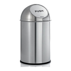 Blomus - INTRO Pushman Trash Can - Your disposal area no longer has to look like a messy heap. The INTRO Pushman Trash Can does the dirty job of keeping your trash tidy - and away from view. Its smooth stainless steel with matte finish makes things easy to clean and maintain. This mid-size trash can is a perfect solution for any home of office.