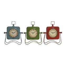 Benzara - Adorable Metal Table Clock Assorted Set of Three with Vibrant Colors - Adorable Metal Table Clock Assorted Set of 3 with Vibrant Colors of Blue, Green and Red. Your kids will simply love this Set of three adorable metal table clocks. The dimensions of the three clocks are 10 x 3.5 x 13, 10 x 3.5 x 13 and 10 x 3.5 x 13. Some assembly may be required.