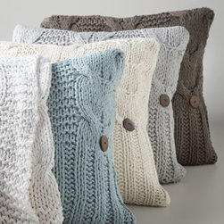 "Amity Home - Amity Home Cable-Knit Throw, 50"" x 60"" - Cable-knit accessories in your choice of colors are made of soft cotton. Select color when ordering. 20""Sq. pillow has coconut buttons and feather/down fill. Throw, 50"" x 60"". Hand wash. Imported."