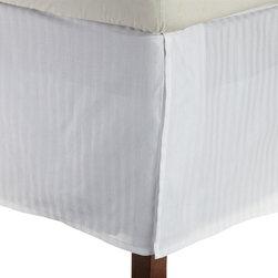 Bed Linens - Egyptian Cotton Stripe Bed Skirt, King, White - 300 Thread Count Stripe Bed Skirt