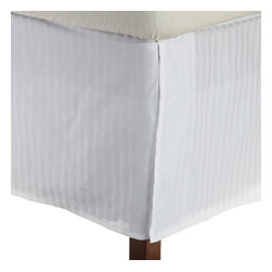 Bed Linens - Egyptian Cotton Stripe Bed Skirt, King, White - 300 Thread Count Stripe Bed Skirt