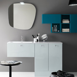 Azzurra - Azzurra | Azzurra Metropolis 08 Vanity Set - Made in Italy by Azzurra.A part of the Metropolis Collection. The Azzurra Metropolis 08 Vanity Set reinvents your current master bathroom. Its comprehensive features include a uniquely designed stone-shaped mirror that is wall-hung and gives your bath space a creative spark. The vanity's deep drawer and wall-hung modular shelving unit will amplify your storage and organizational efficiency by providing an abundance of space and small compartments. Choose from a wide selection of colors to create your ideal modern bath theme. Product Features: